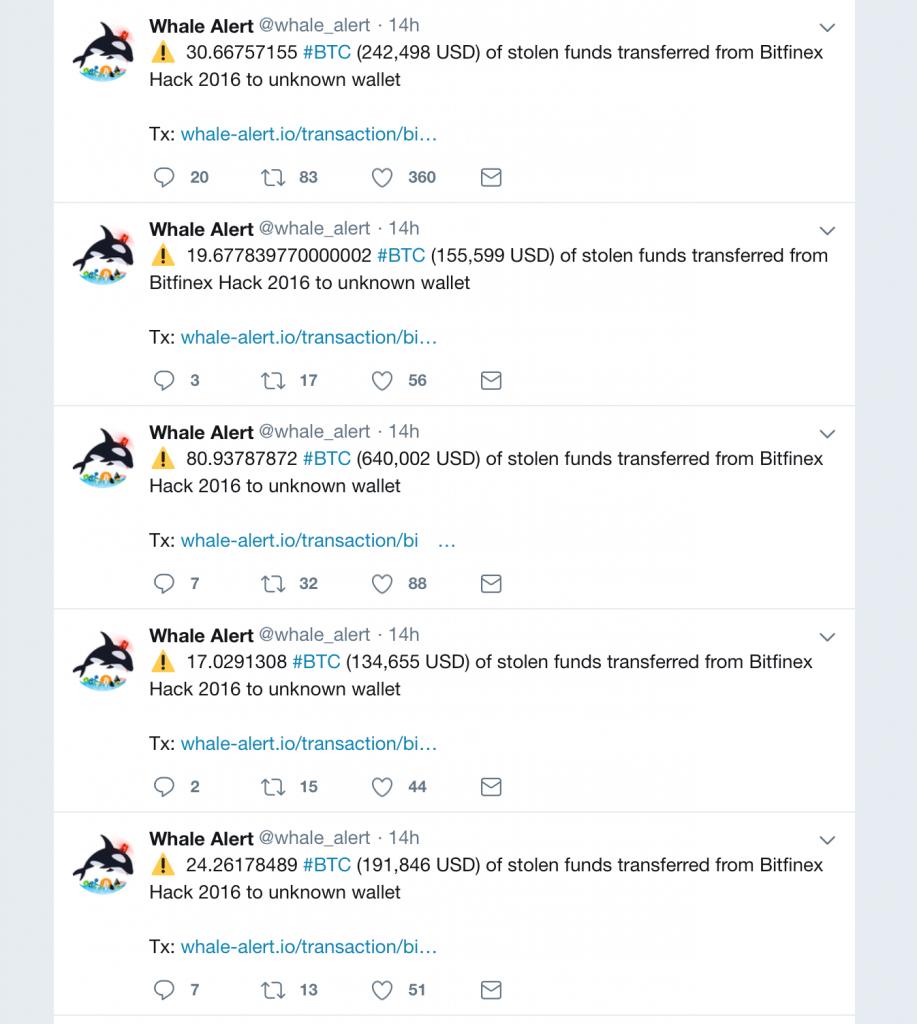 Информация о переводе средств с Bitfinex, по данным Whale Alert