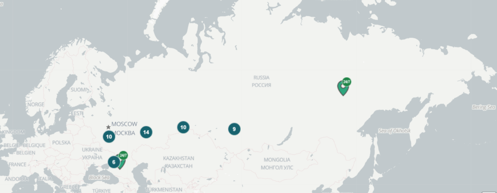 Карта расположения криптобанкоматов в России