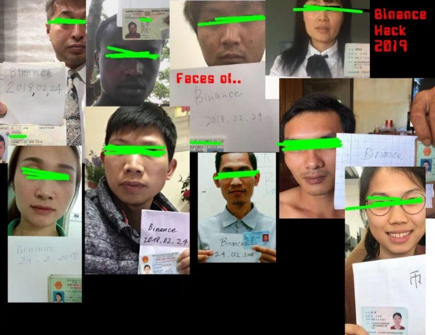 Снимки пострадавших, в ходе утечки KYC-данных Binance