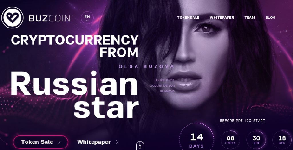 Информация о криптопроекте Ольги Бузовой с официального сайта