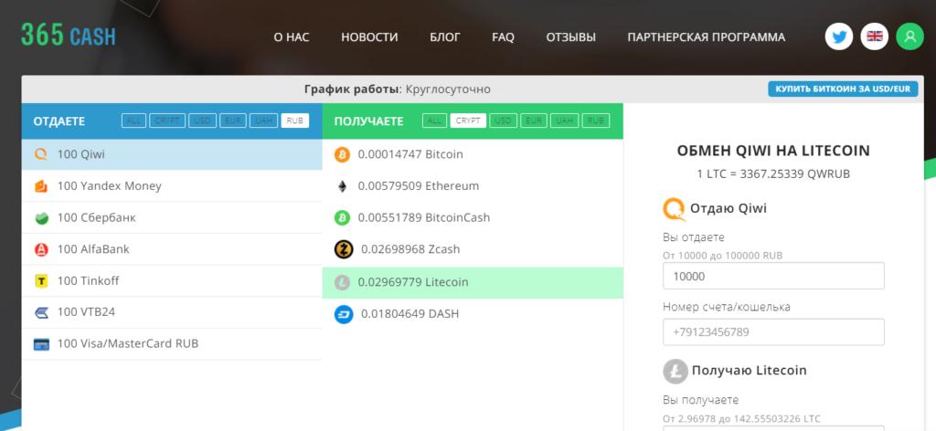Скрин главной страницы торговой платформы 365cash
