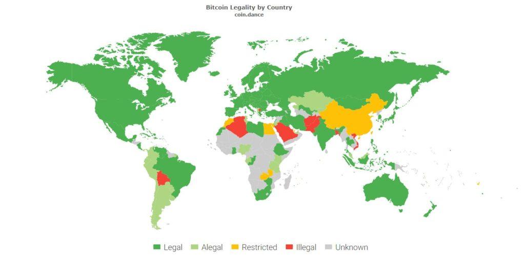 Цветовая схема, которая отображает уровень легальности криптовалют, в зависимости от страны