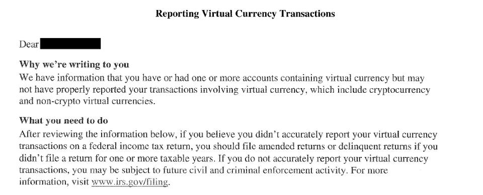 Обращение американских налоговиков к участникам местного криптосообщества