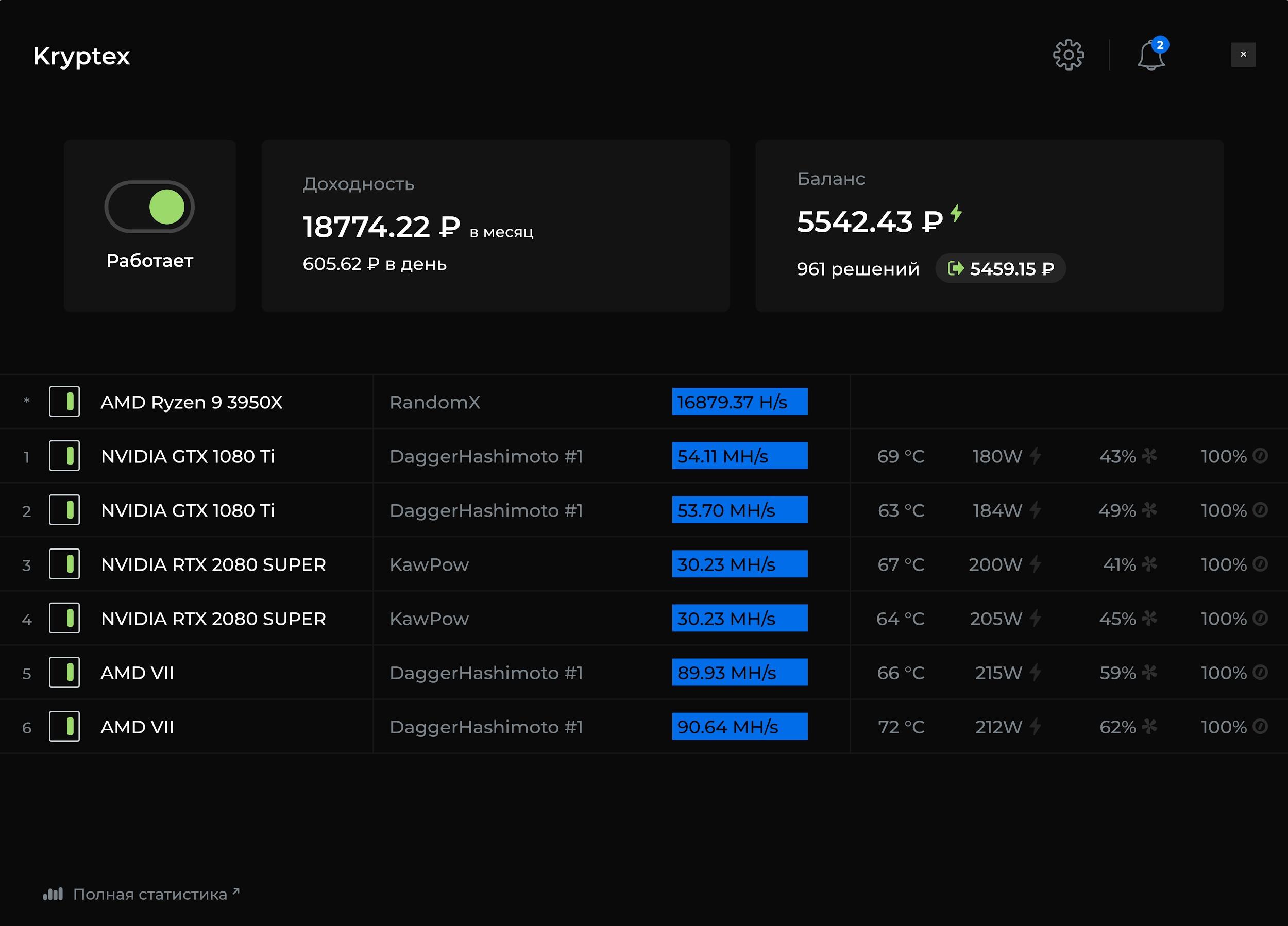 Скрин интерфейса сайта Криптекс
