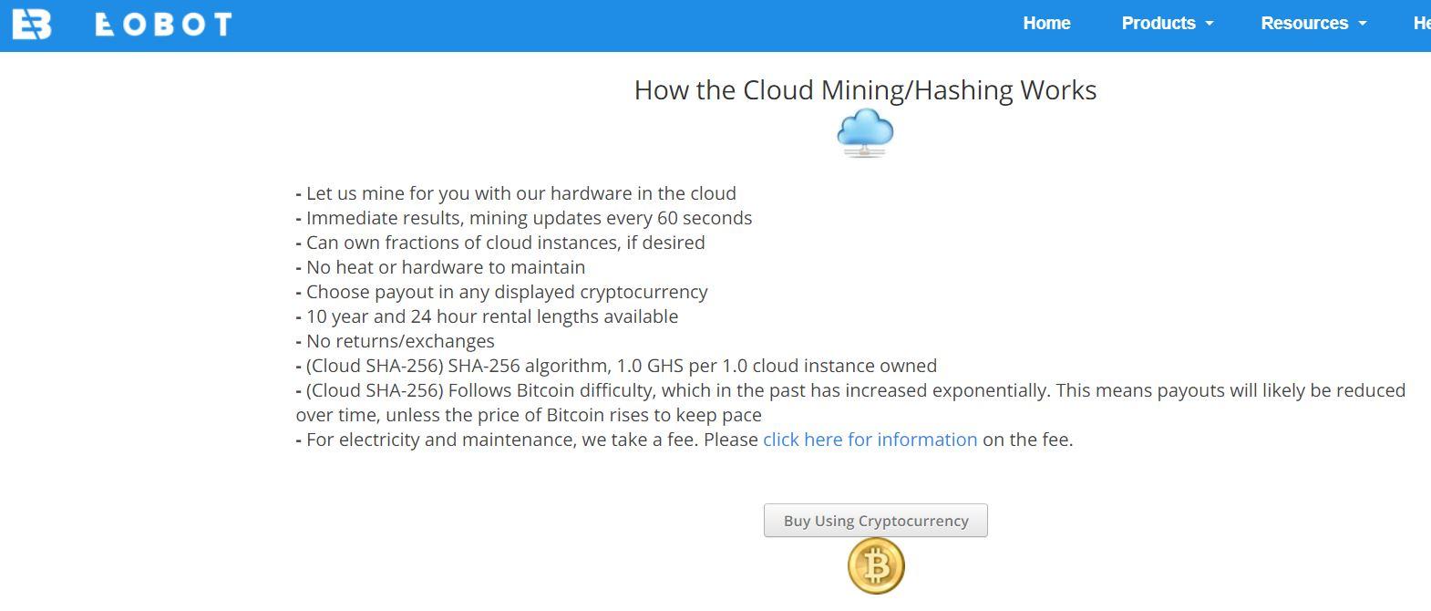 Скрин главной страницы сервиса облачного майнинга Eobot