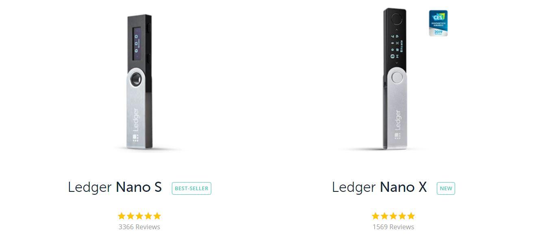 Варианты холодных кошельков компании Ledger