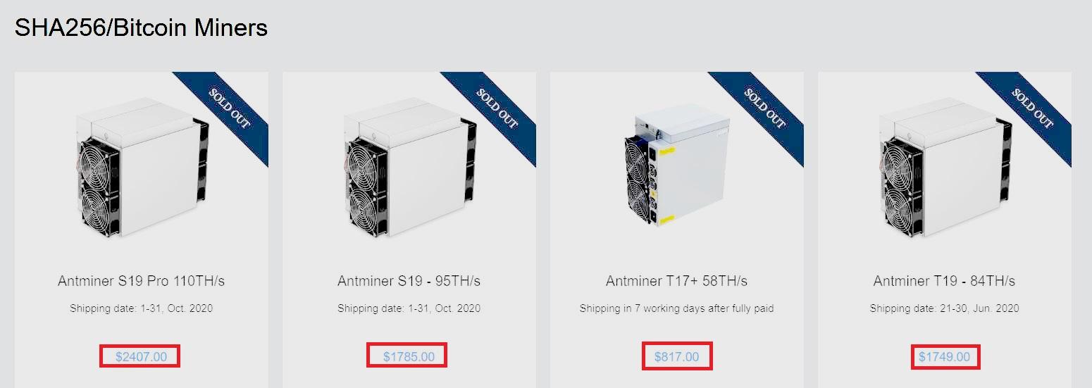 Цена популярных моделей асиков производителя оборудования для майнинга Bitmain