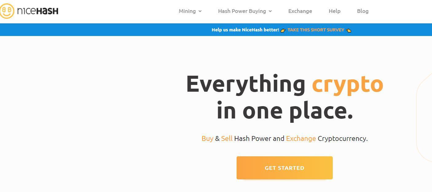 Скрин главной страницы сервиса облачного майнинга Nicehash