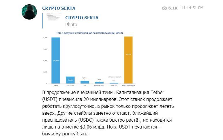 Один из постов Crypto sekta