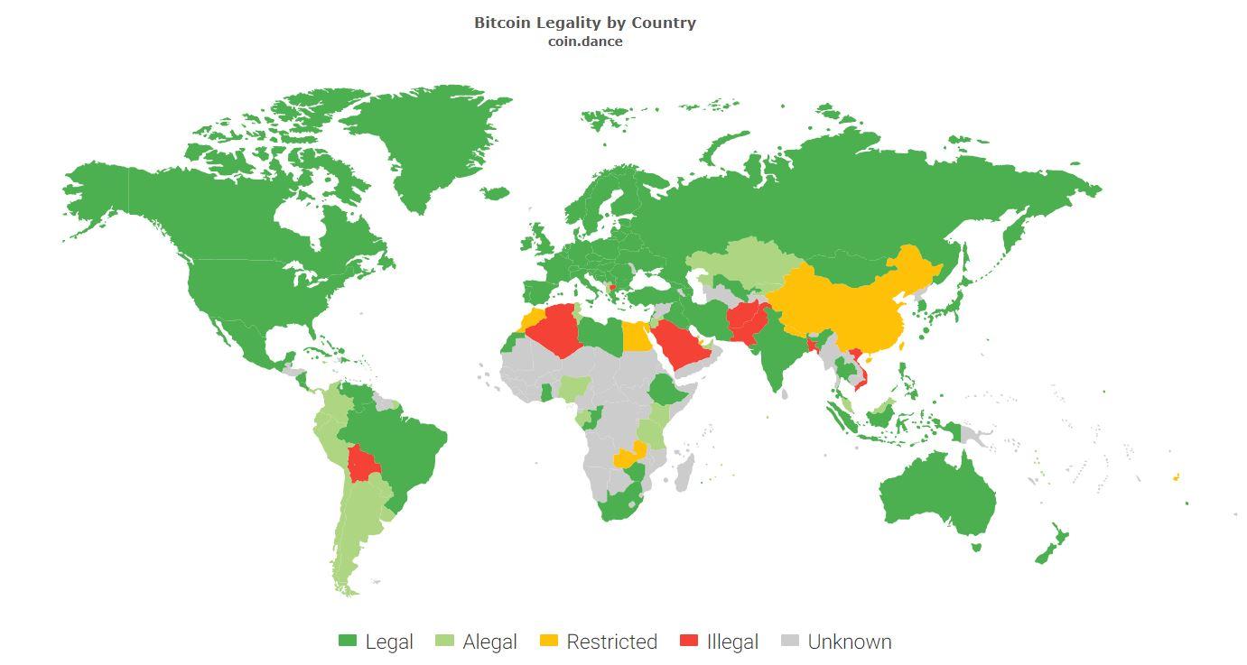Легальность криптовалют в мире на карте