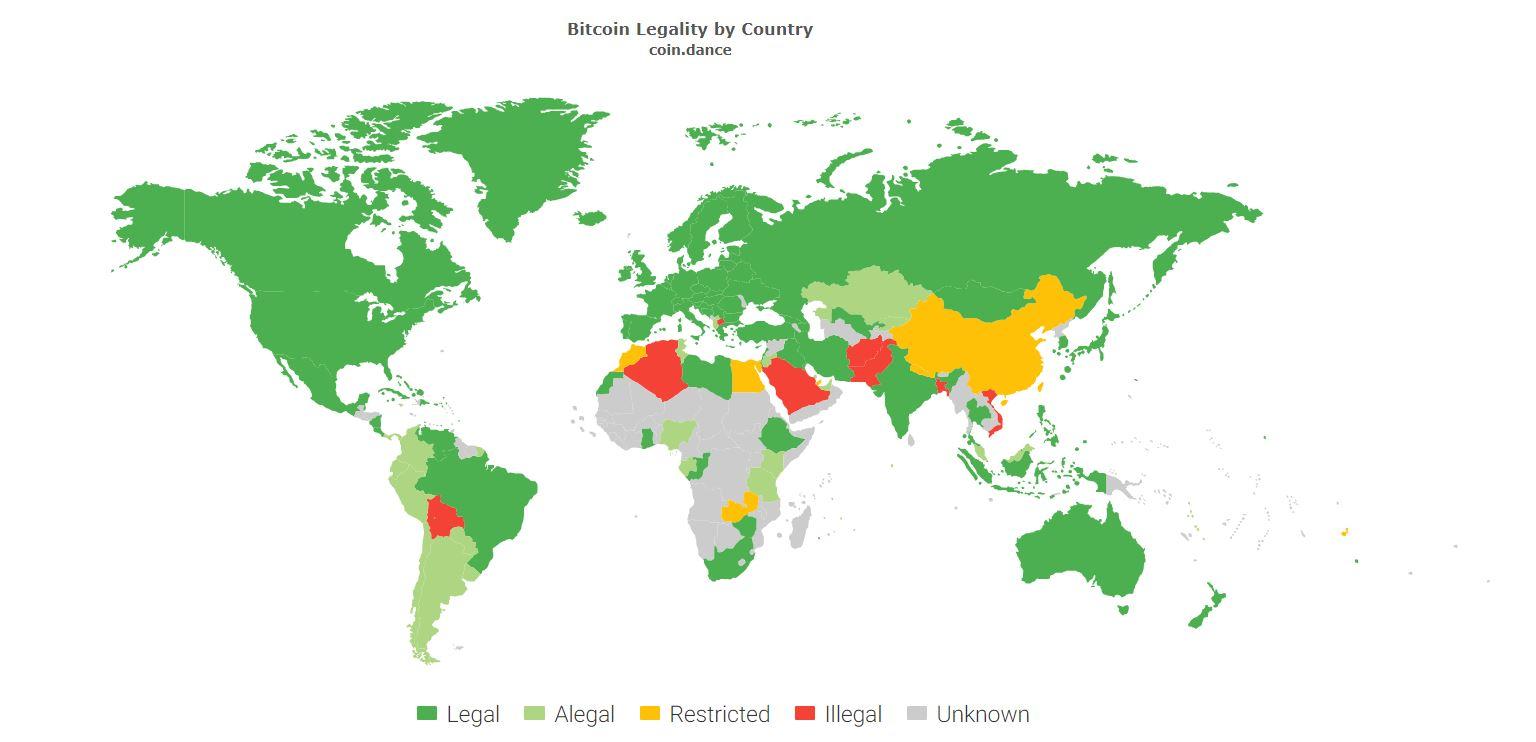 Карта легальности криптовалют