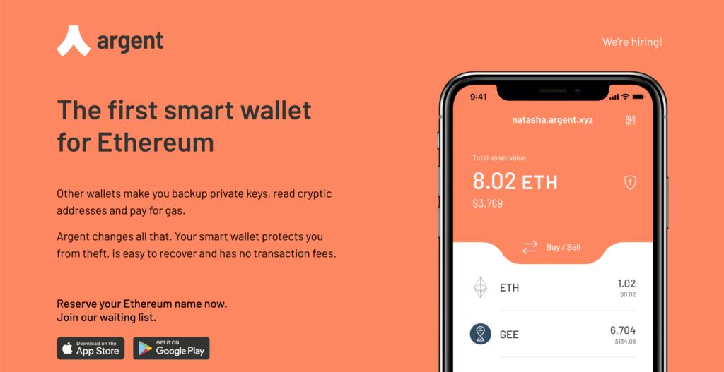 Интерфейс Argent Wallet