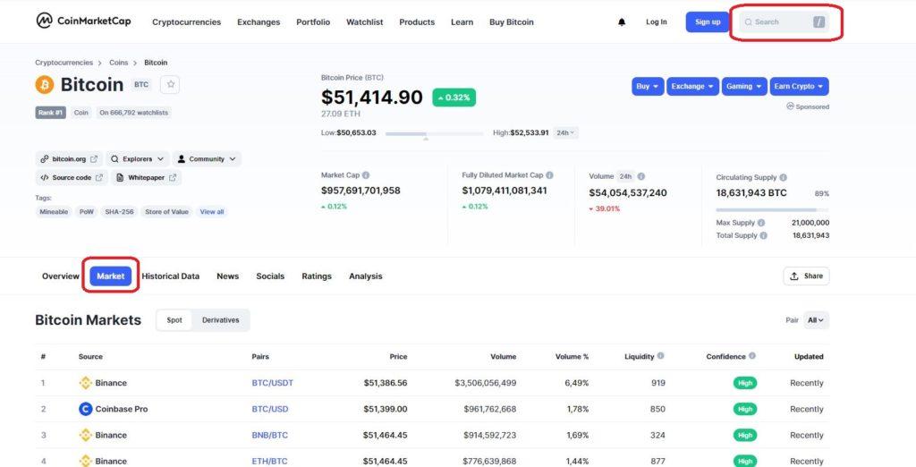 Поиск данных на CoinMarketCap