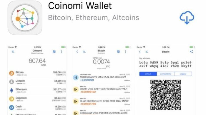 Интерфейс Coinomi Wallet