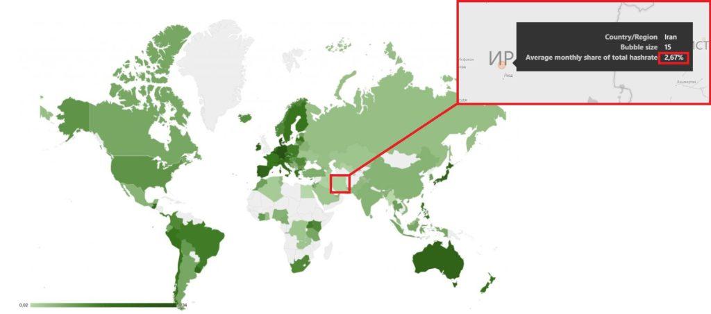 Иран на карте майнинга