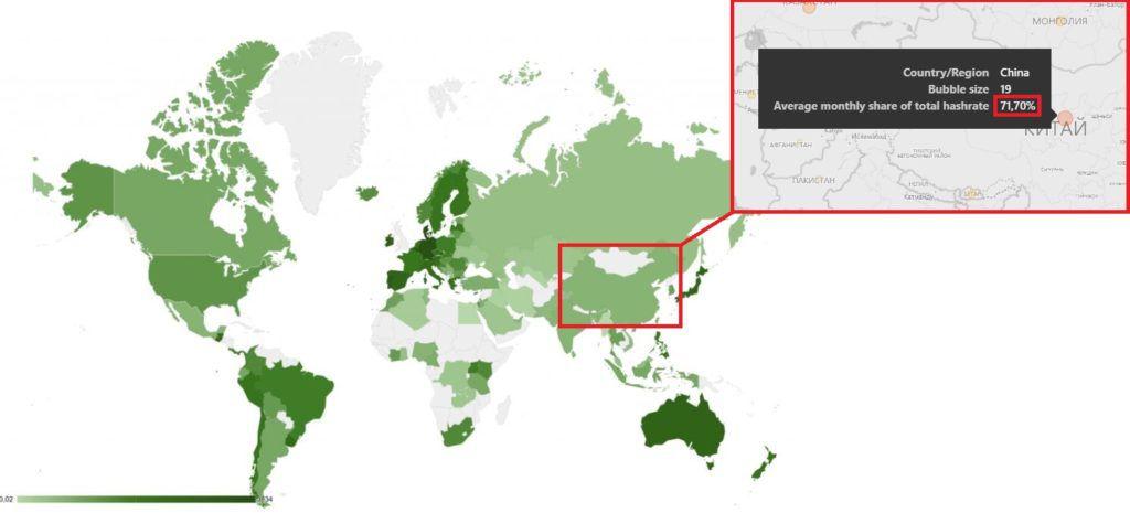 Китай на карте майнинга