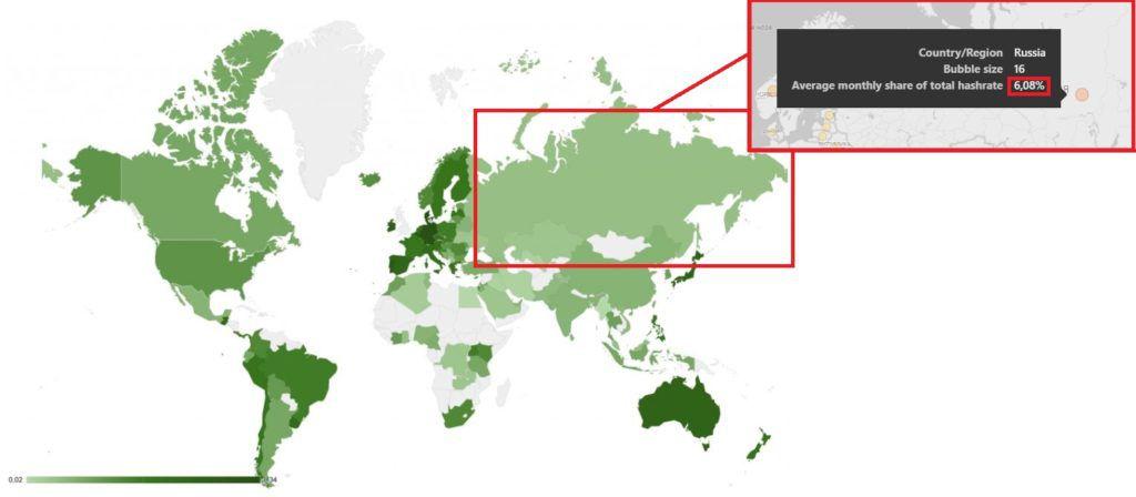 Россия на карте майнинга