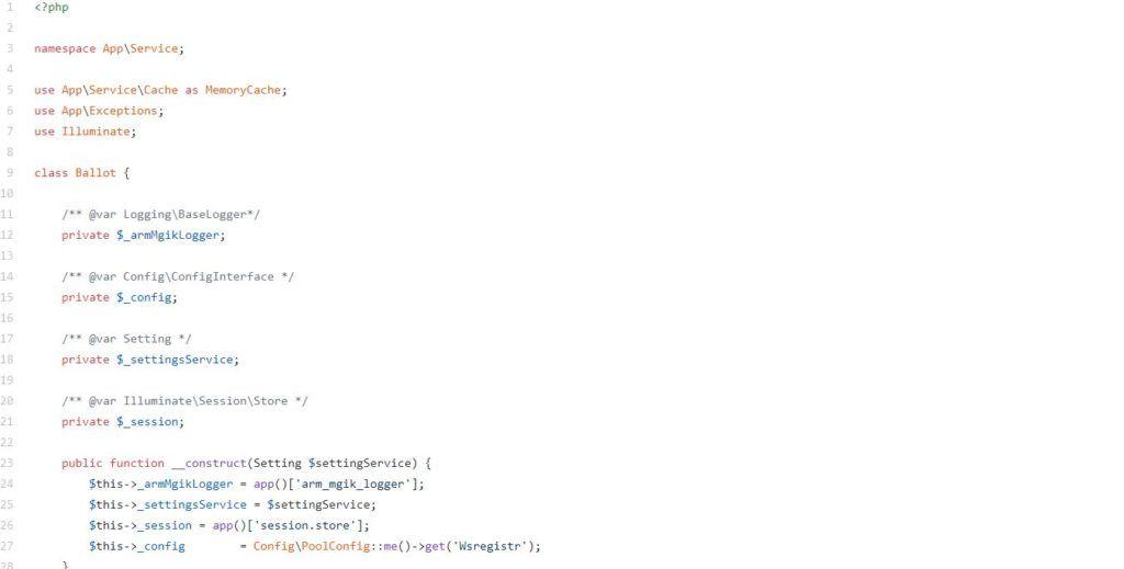Скрин кода платформы, на которой проводится блокчейн-голосование