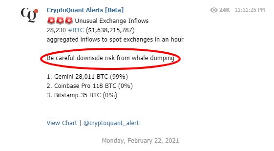 CryptoQuant дамп биткоина