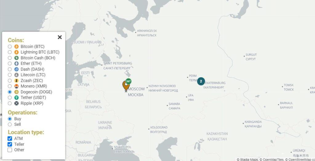 Карта криптобанкоматов с Dogeocin