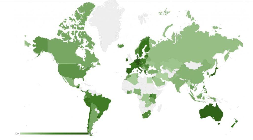 Карта, которая отражает стоимость электроэнергии в разных странах мира
