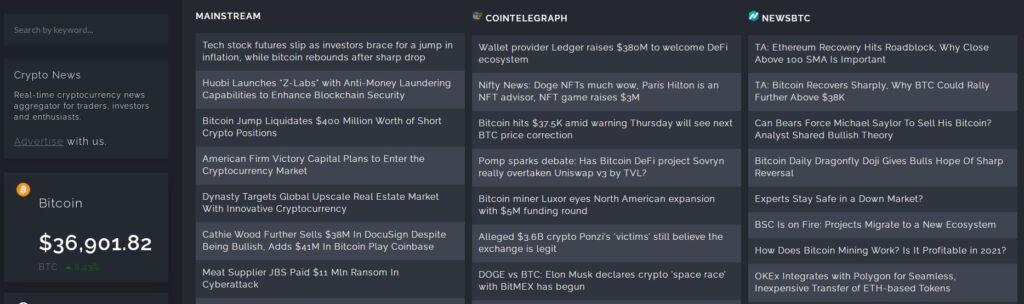 Скрин платформы CoinSpectator