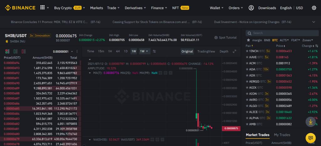 Скрин платформы Binance