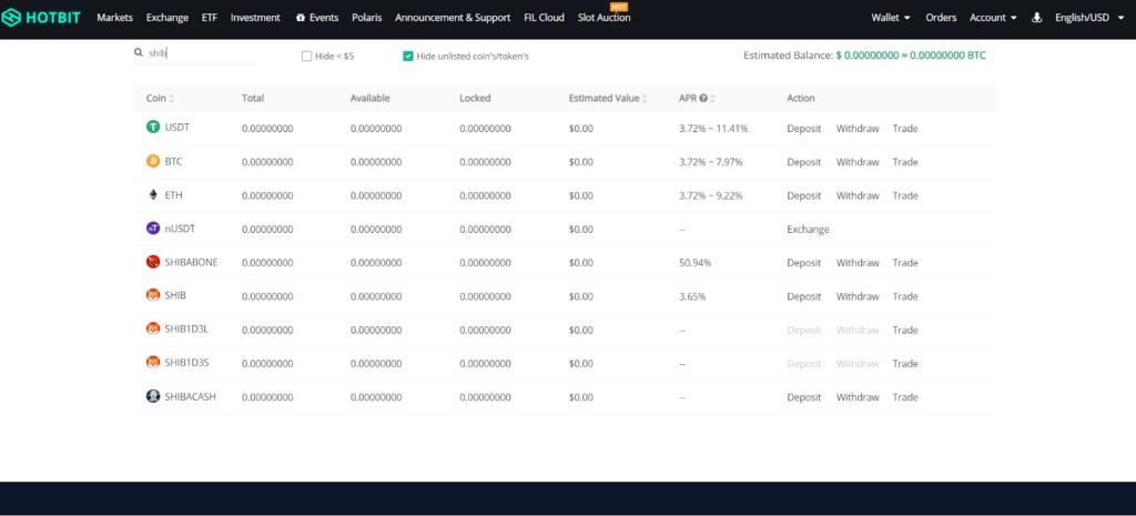 Скрин платформы Hotbit