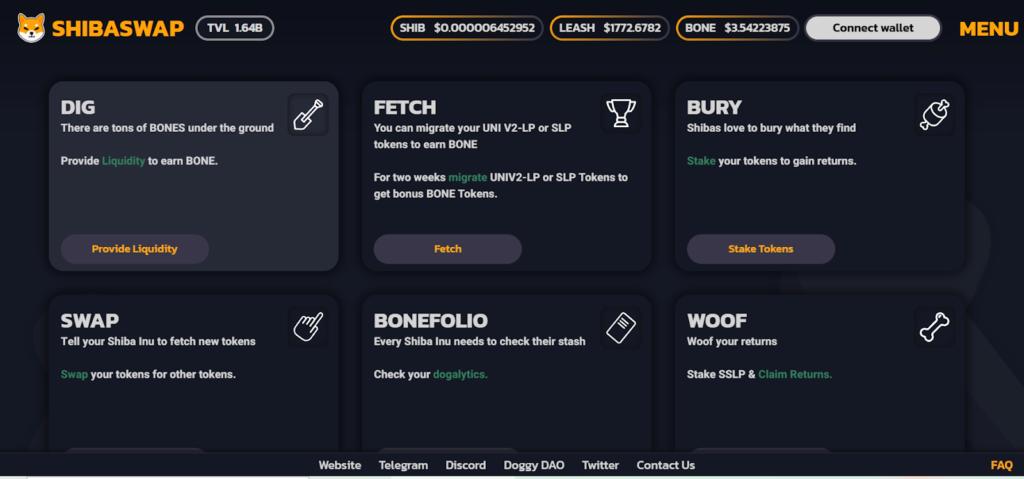 Скрин платформы ShibaSwap