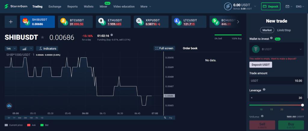 Скрин платформы StormGain