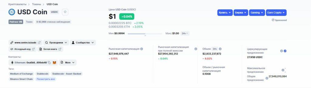 Информация о стейблкоине USD Coin